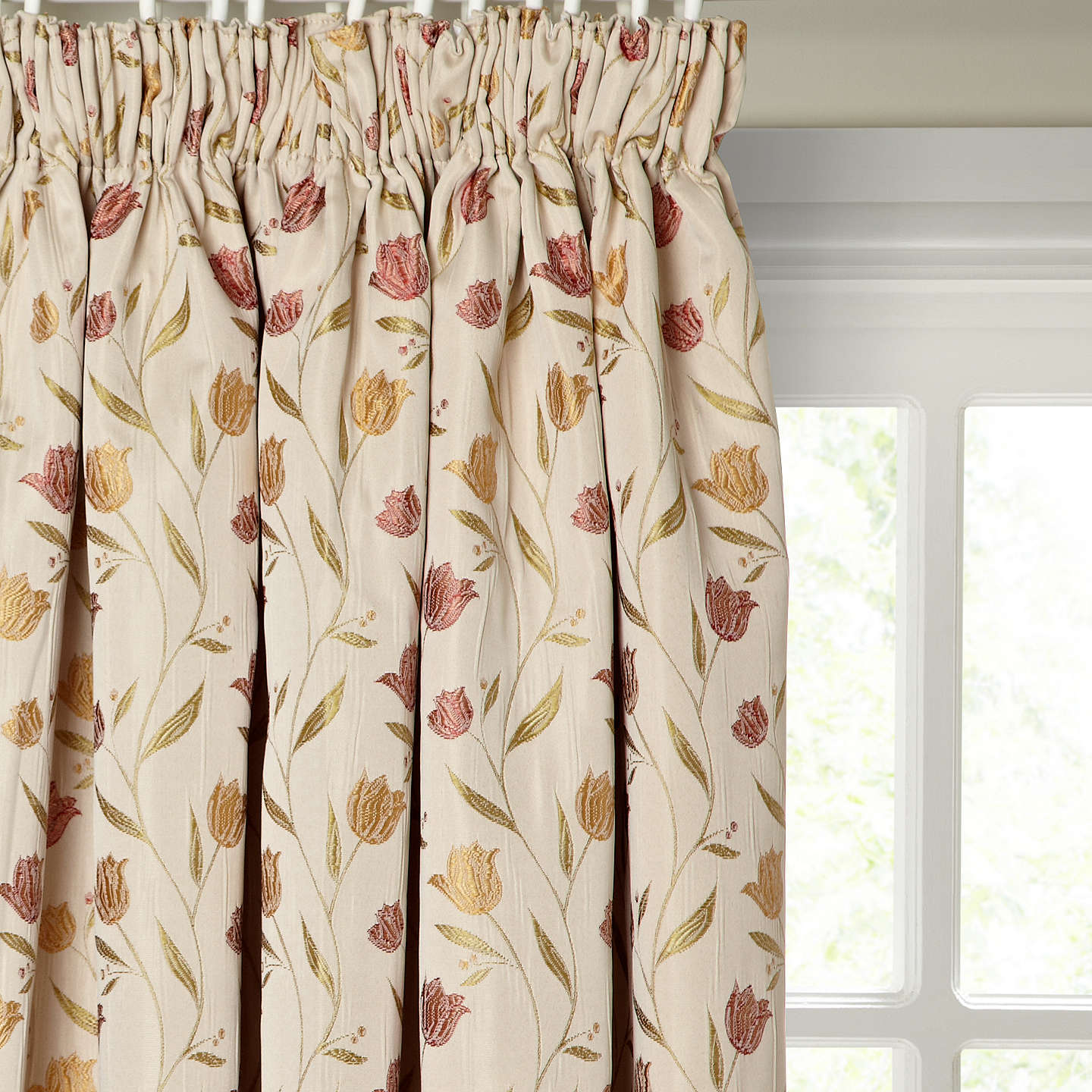 BuyJohn Lewis Tulips Pair Lined Pencil Pleat Curtains Red Gold W167 X Drop