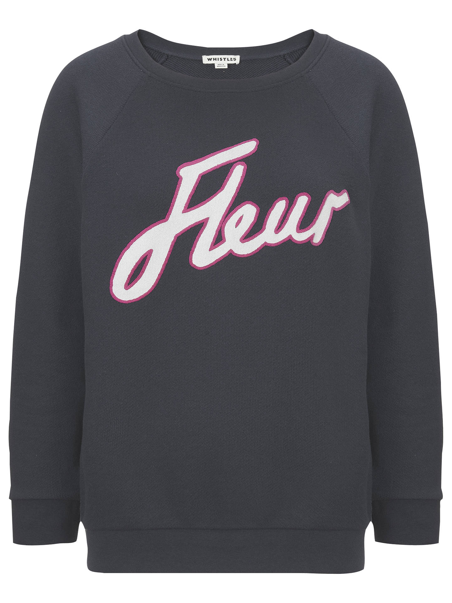 BuyWhistles Fleur Logo Sweat, Navy, M Online at johnlewis.com