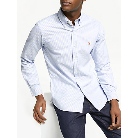 Buy Polo Ralph Lauren Slim Fit Striped Oxford Shirt, Blue/White Online at johnlewis.com