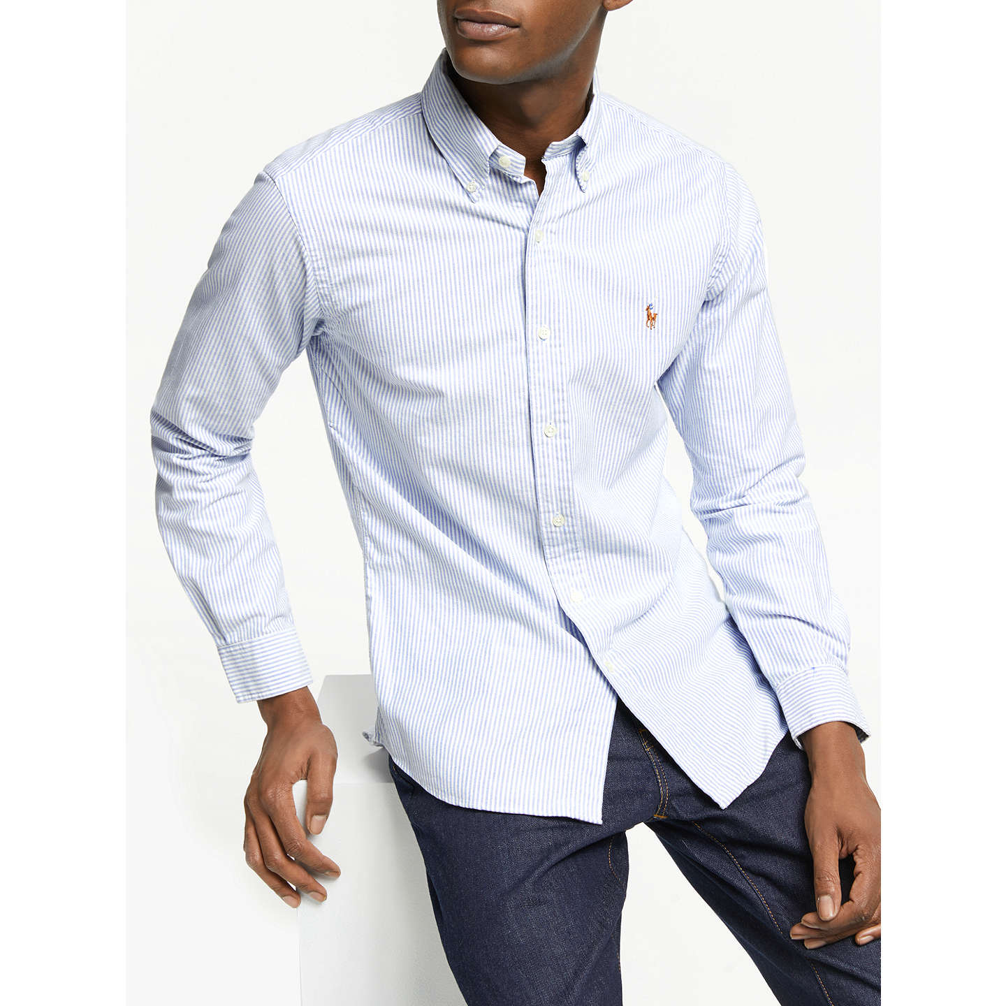 BuyPolo Ralph Lauren Slim Fit Striped Oxford Shirt, Blue/White, S Online at  ...