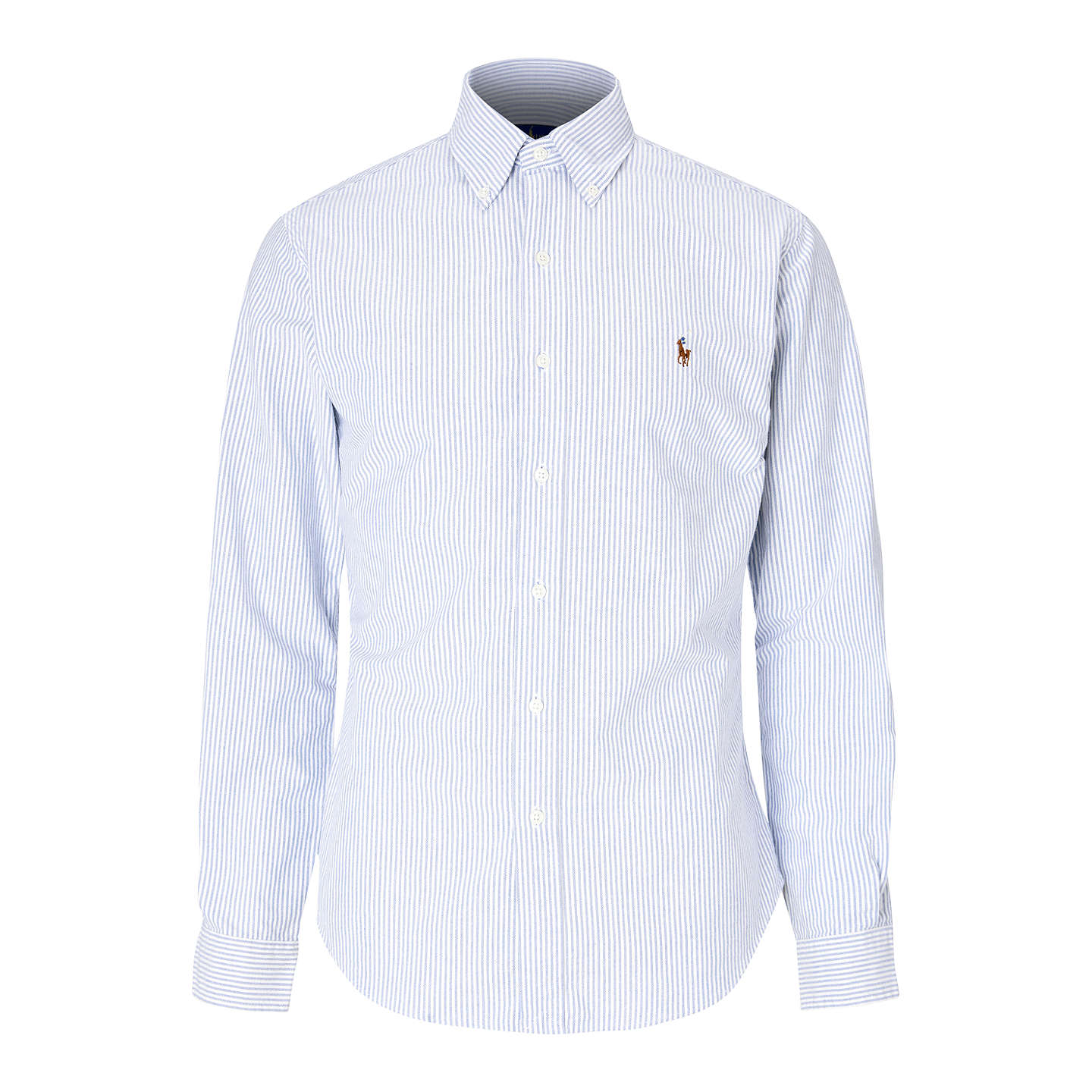... BuyPolo Ralph Lauren Slim Fit Striped Oxford Shirt, Blue/White, S  Online at