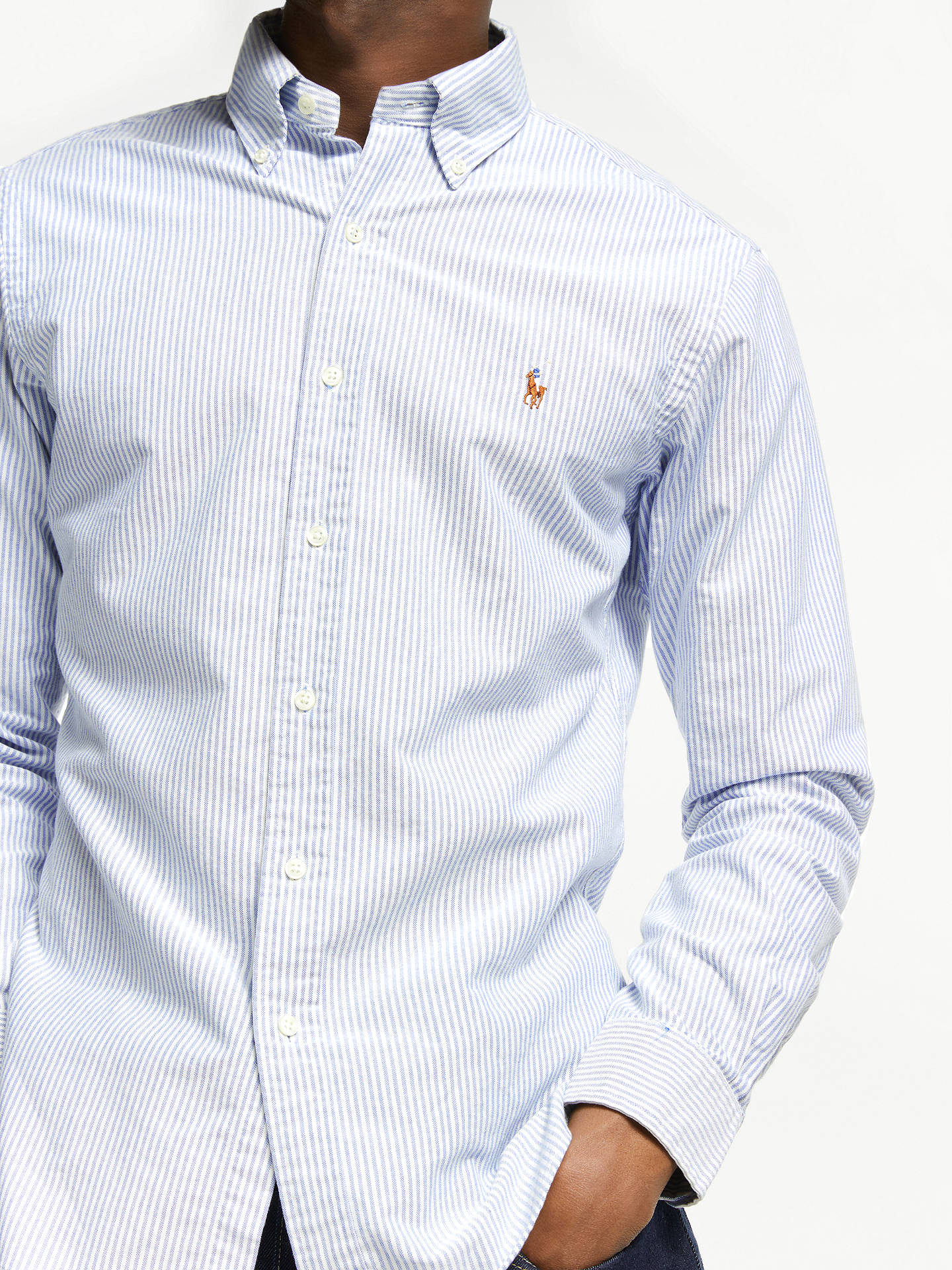 c09aa176 Buy Polo Ralph Lauren Slim Fit Striped Oxford Shirt, Blue/White, S Online  ...