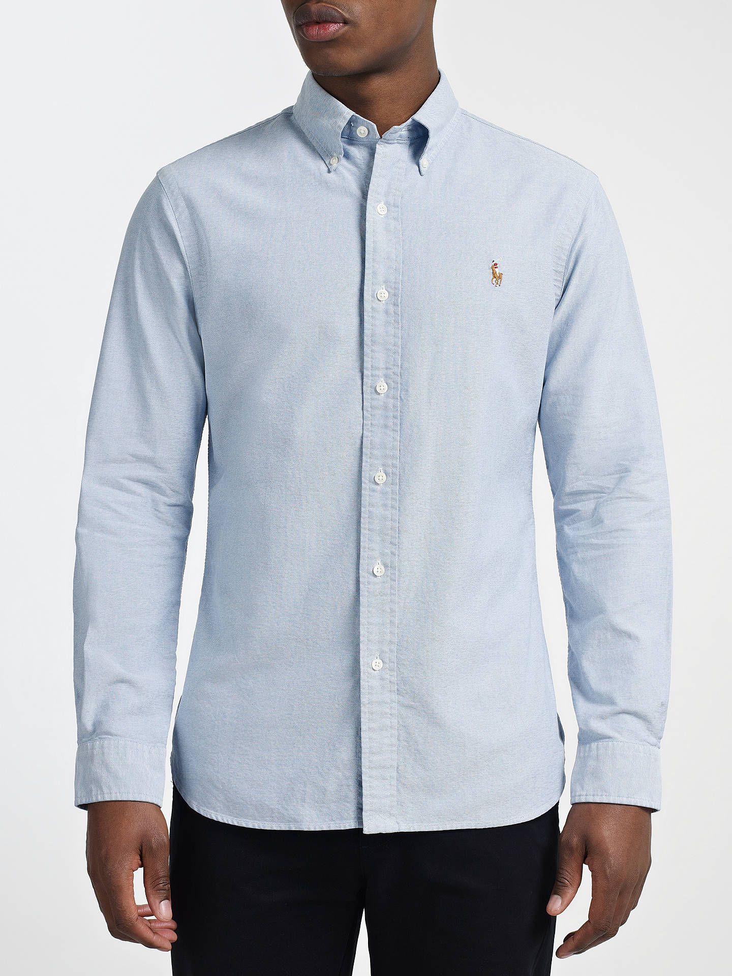 BuyPolo Ralph Lauren Cotton Oxford Slim Fit Shirt, Sky, S Online at  johnlewis. 8fc561e4bfe