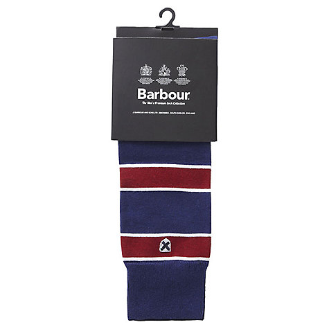 Buy Barbour Hexham Seaweed Stripe Socks, Blue/Red Online at johnlewis.com