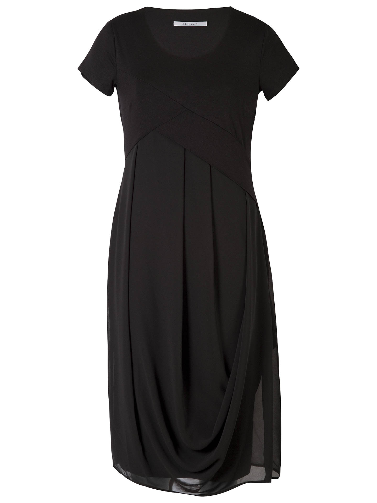 Buy Chesca Jersey Chiffon Dress, Black, 12 Online at johnlewis.com