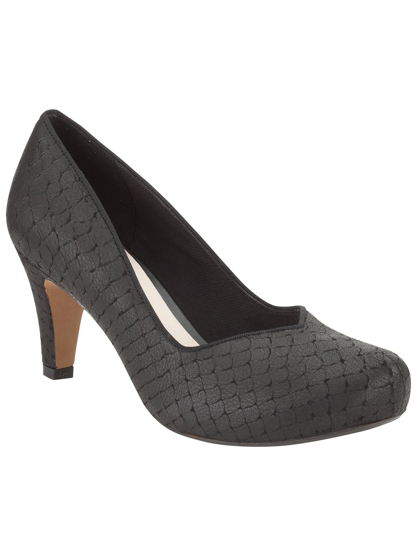 Clarks Chorus Voice Leather Court Shoes, Black Interest at