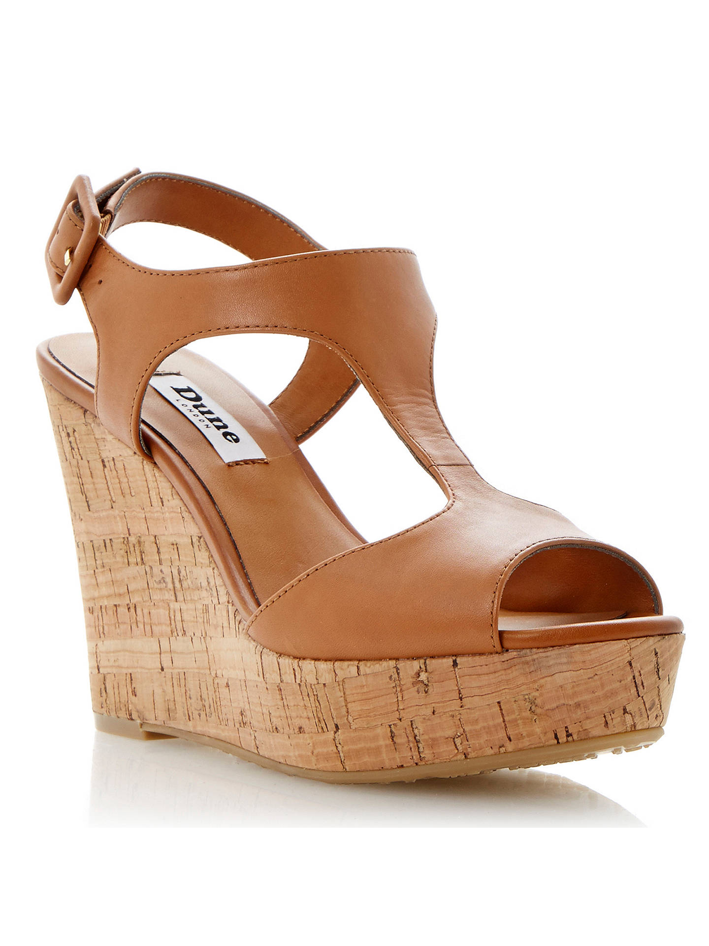 8a6414277 Buy Dune Goaly Leather Cork Wedge Platform Sandals, Tan, 3 Online at  johnlewis.