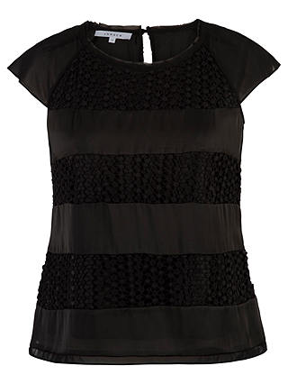 Buy Chesca Lace Chiffon Top, Black, 12 Online at johnlewis.com