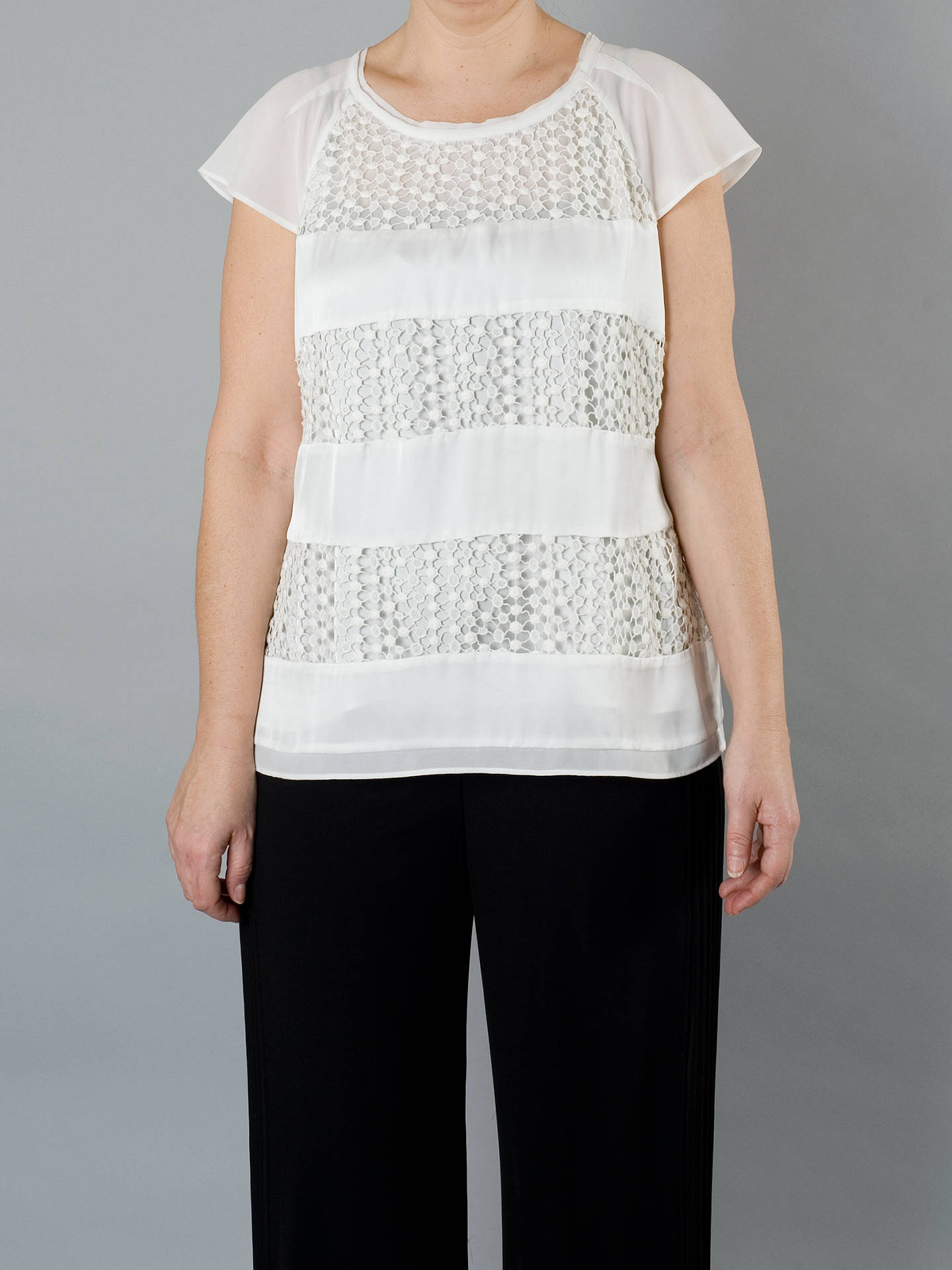 BuyChesca Lace Chiffon Top, Ivory, 14 Online at johnlewis.com