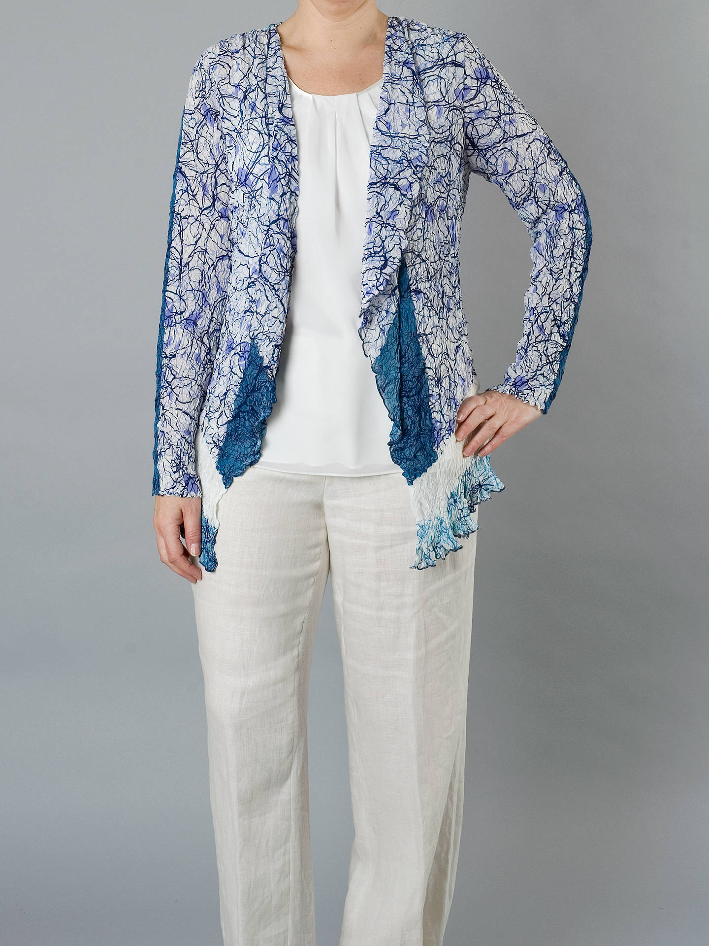 BuyChesca Scribble Print Lace Shrug Cardigan, Ivory/blue, 20-22 Online at johnlewis.com