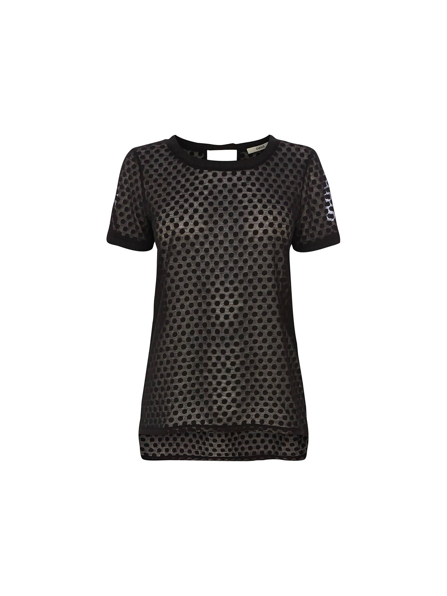c5e9e7328d2b4a Buy Oasis Spot Burnout T-Shirt, Black, XS Online at johnlewis.com ...