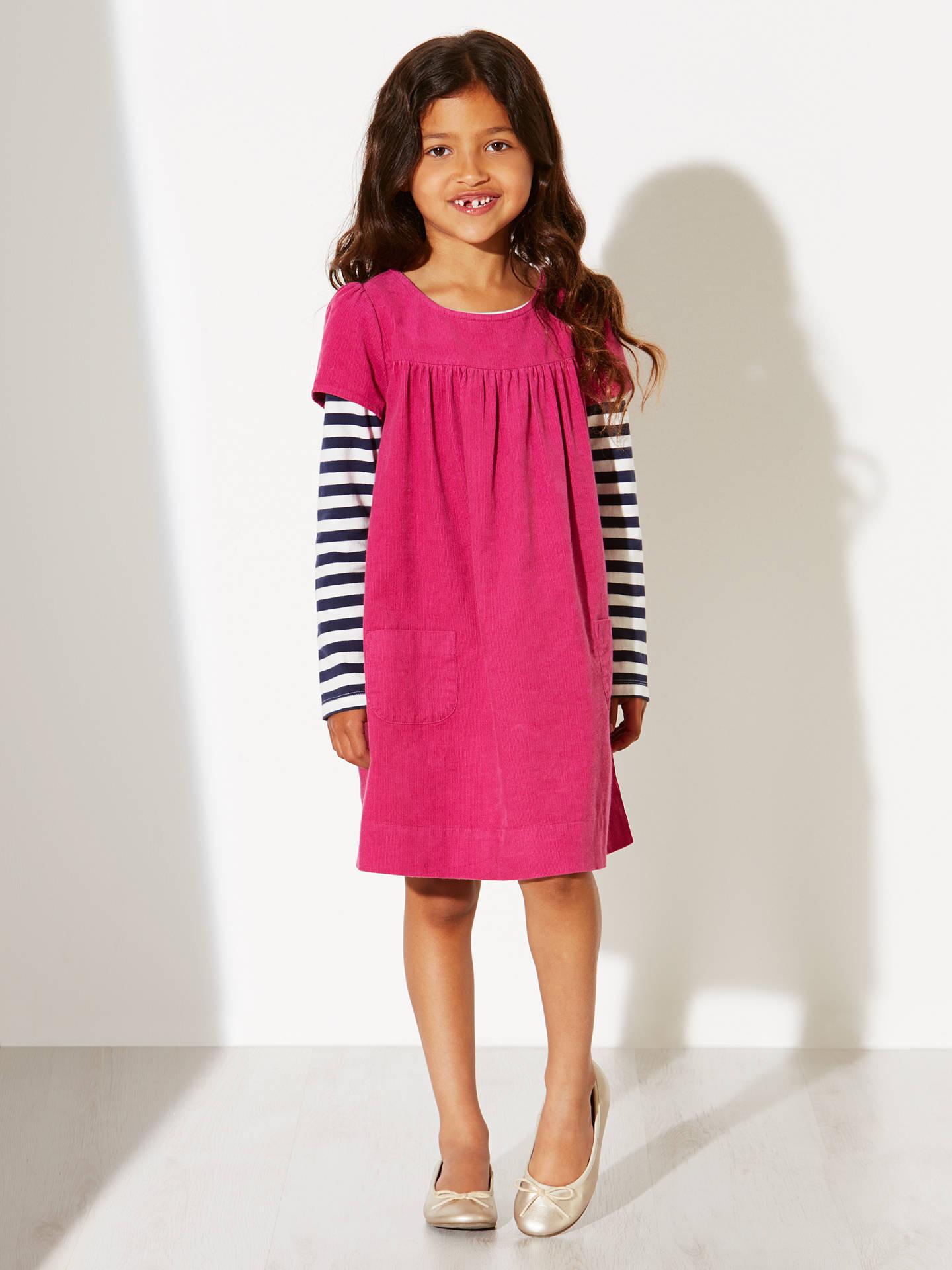 0803248eb ... Buy John Lewis Girl Corduroy Stripe Sleeves Pinafore Dress, Pink, 6  years Online at ...