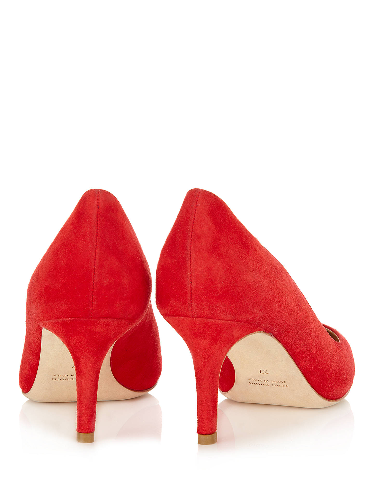1e440929de ... Buy Jigsaw Milly Suede Point Toe Kitten Heel Court Shoes, Red, 3 Online  at ...