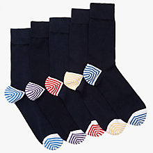 Buy John Lewis Heel & Toe Stripe Socks, Pack of 5, Multi Online at johnlewis.com