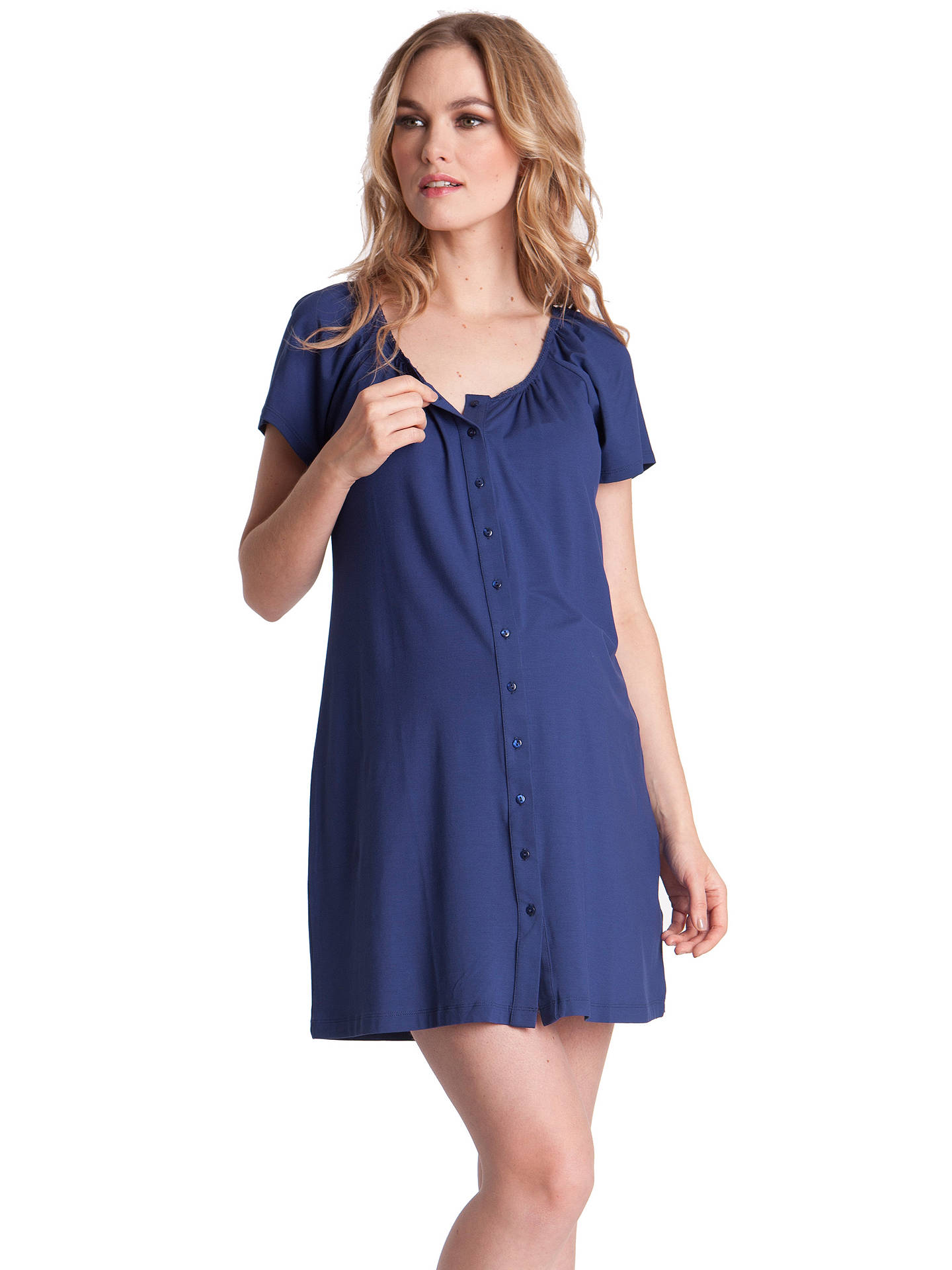 ffce81833f6bc ... Buy Séraphine Gemma Two-Button Maternity Nightdress, Mid Blue, 8 Online  at johnlewis ...