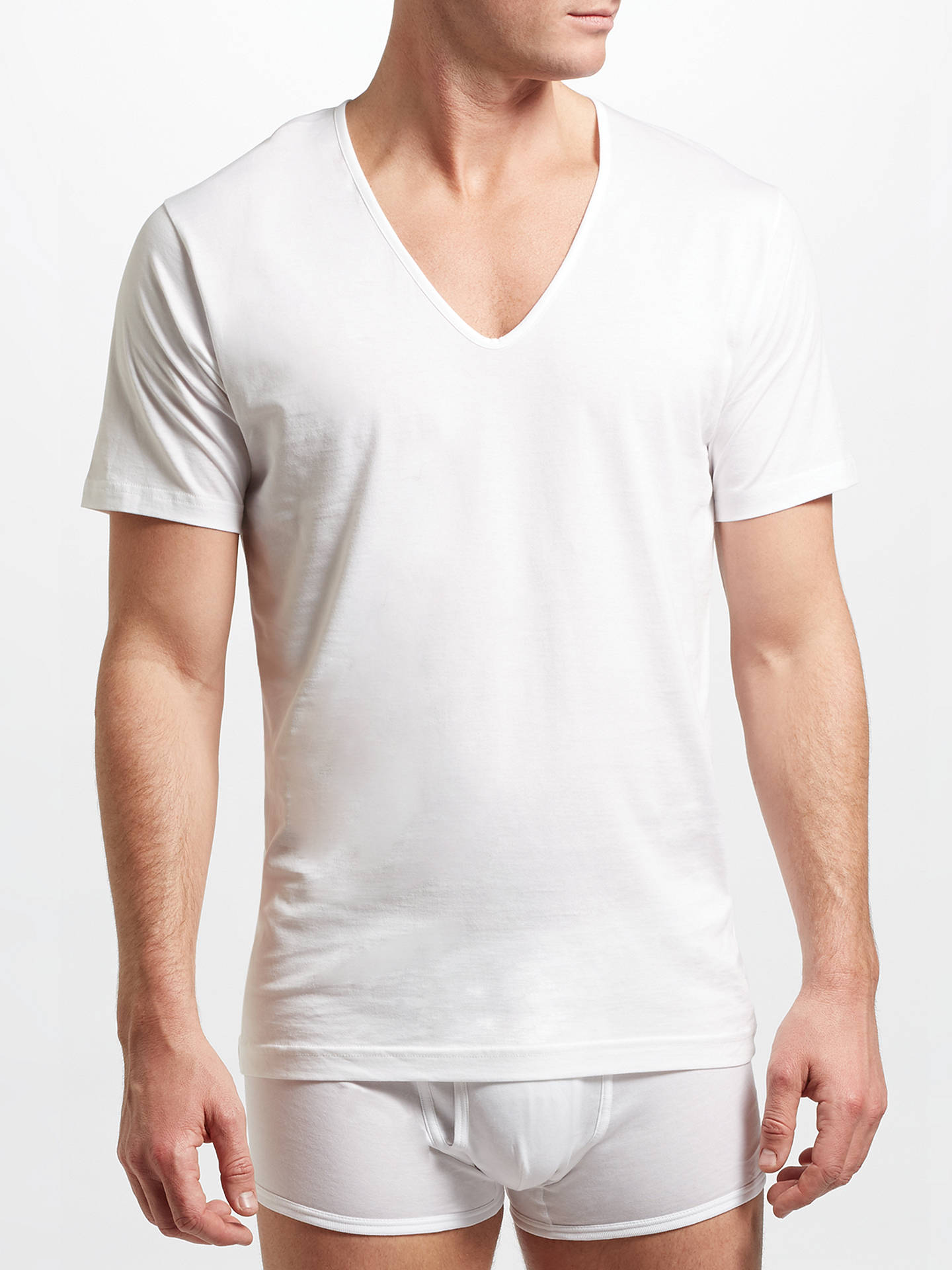 ab1bd1c071cf Sunspel Superfine Low V-Neck Underwear T-Shirt, White at John Lewis ...