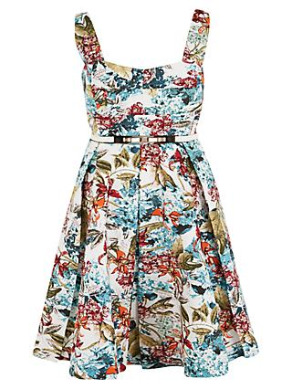 Chesca Floral Print Sateen Belted Dress, Multi