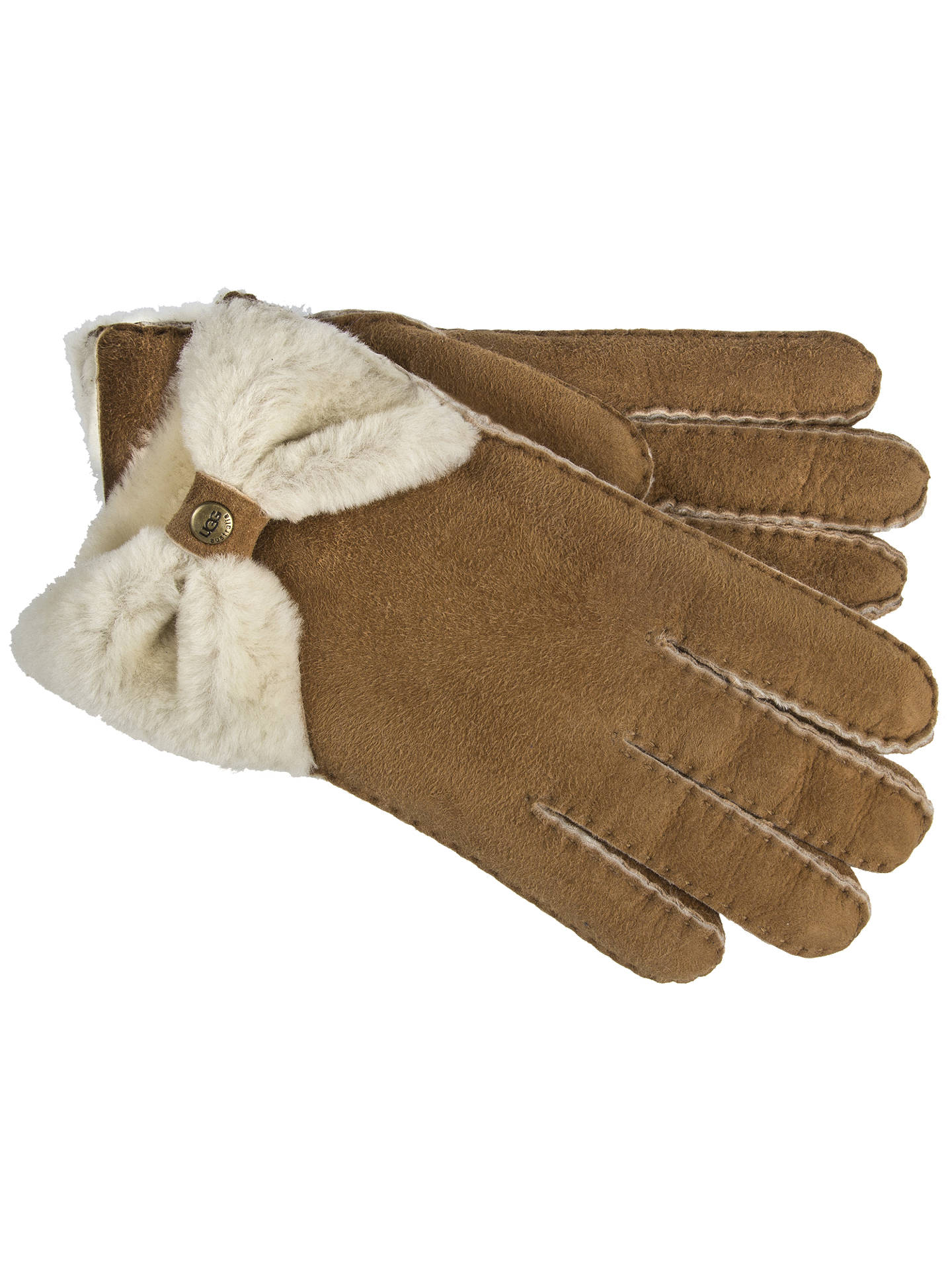 e0f982a0a88 UGG Bow Shorty Gloves, Chestnut at John Lewis & Partners