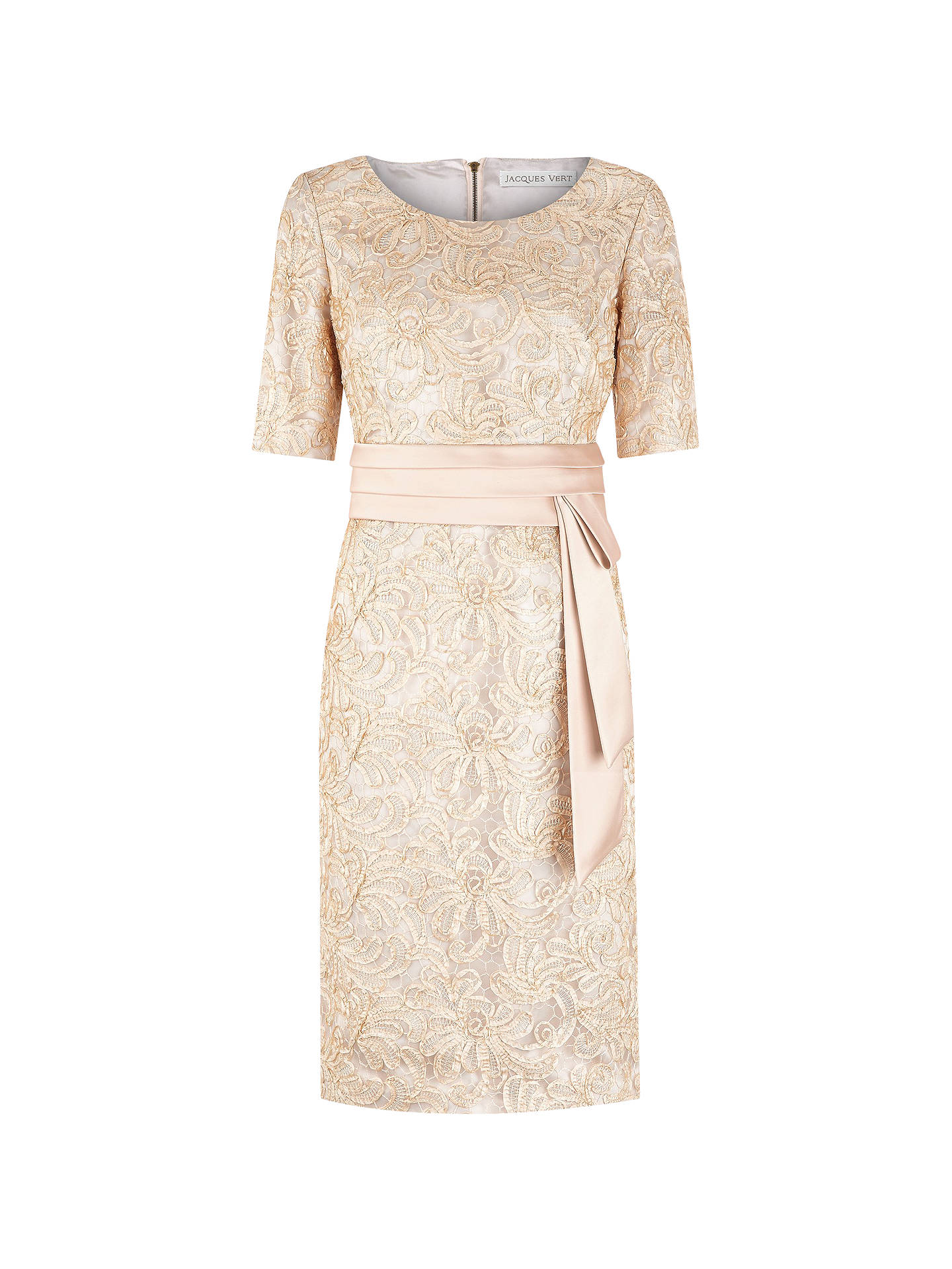 Buy Jacques Vert Ribbon Lace Dress, Gold, 10 Online at johnlewis.com