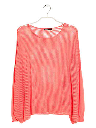 Buy Mango Open Knit Jumper, Light Pastel Red, M Online at johnlewis.com