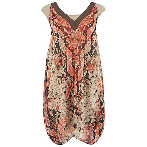 Buy Chesca Python Print Chiffon Dress, Coral Online at johnlewis.com