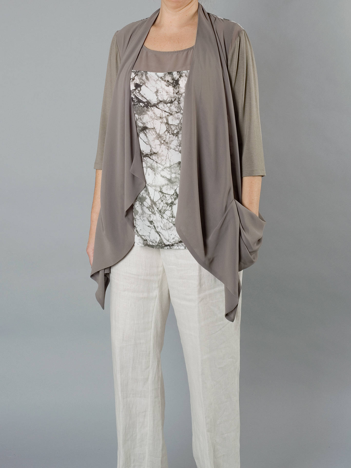 Buy Chesca Chiffon Jersey Trim Shrug, Khaki, 12 Online at johnlewis.com