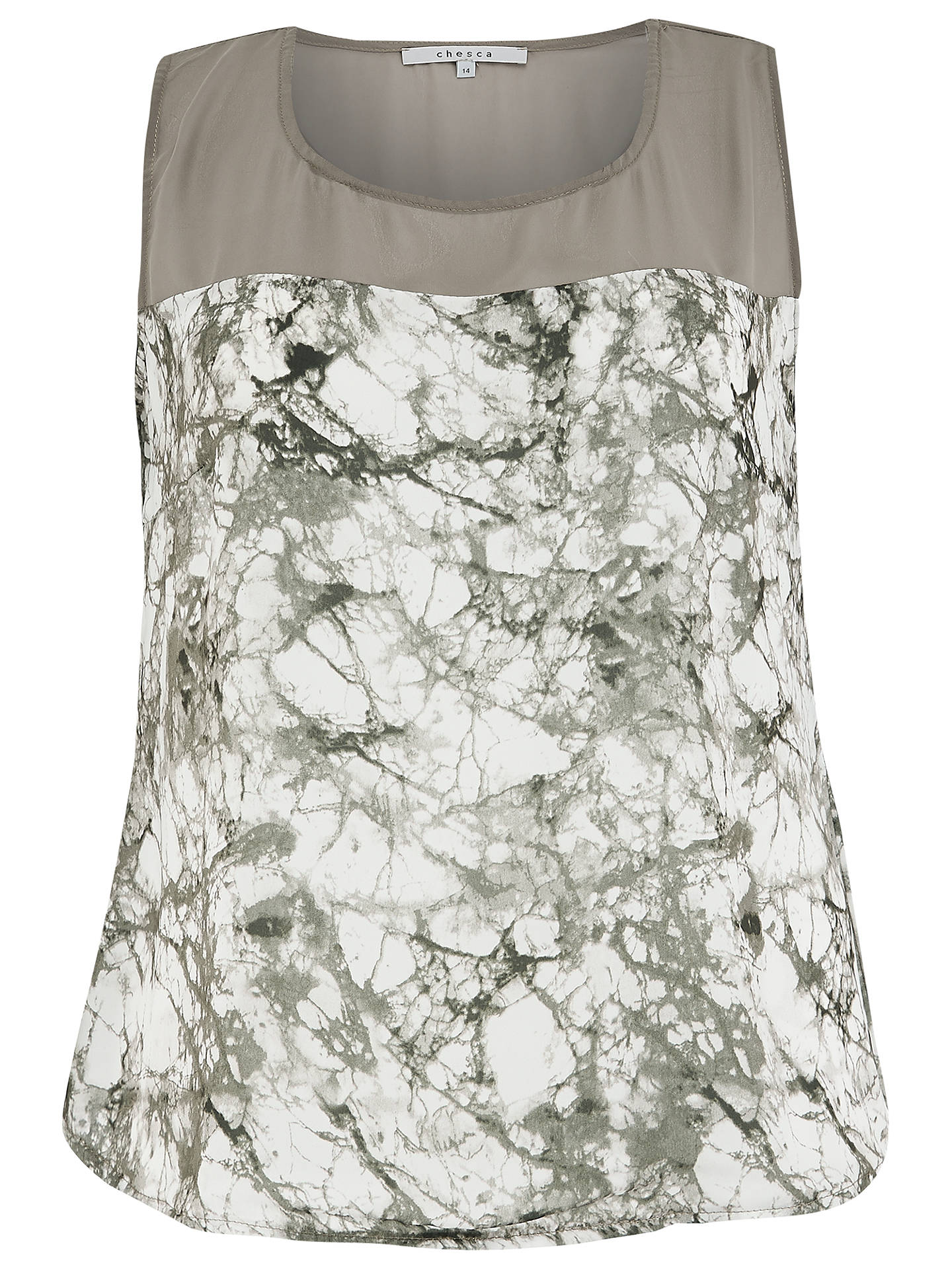 BuyChesca Printed Chiffon Trim Top, Khaki, 12 Online at johnlewis.com