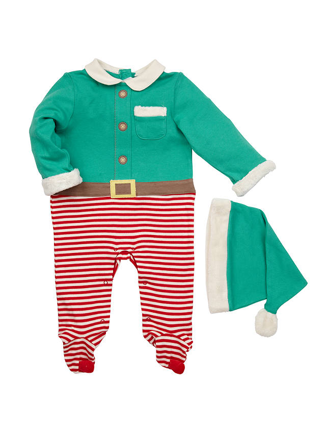 Buy John Lewis Novelty Elf Dress Up Outfit, Green/Red, Newborn Online at johnlewis.com
