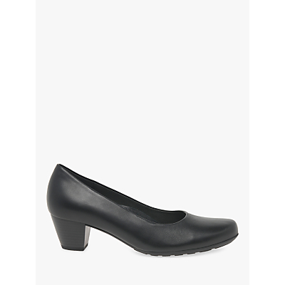 Gabor Brambling Wide Fit Leather Court Shoes, Black