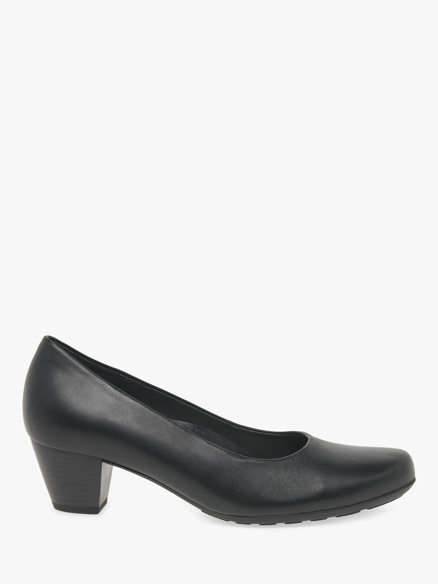 dbba40f409ca6 Buy Gabor Brambling Wide Fit Leather Court Shoes, Black, 4 Online at  johnlewis.