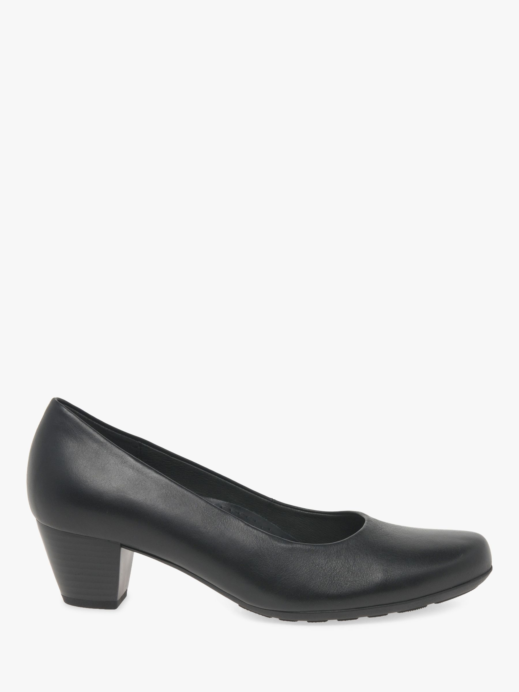 Gabor Gabor Brambling Wide Fit Leather Court Shoes, Black