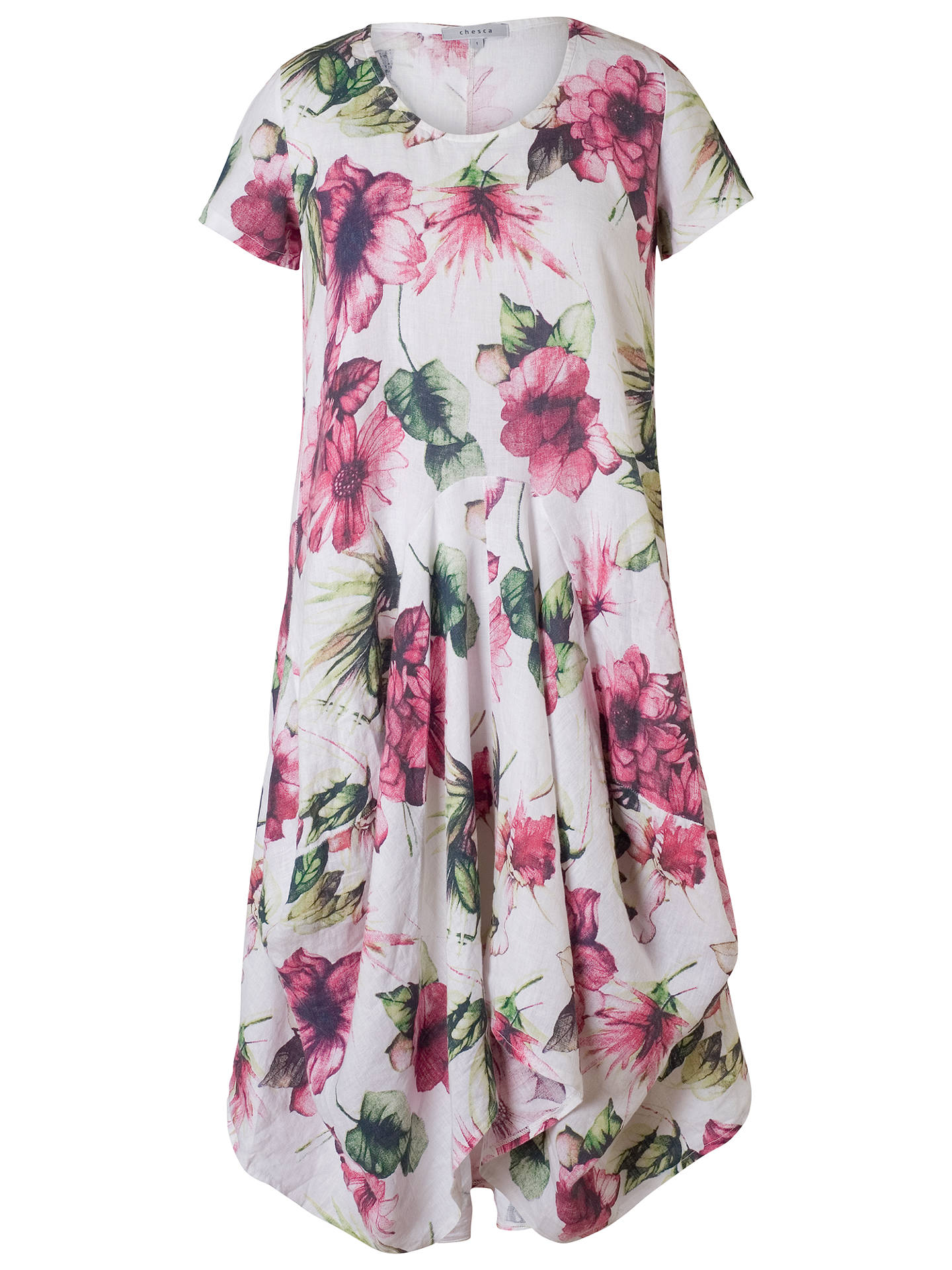 BuyChesca Print Linen Dress, White/Fuchsia, 12-14 Online at johnlewis.com