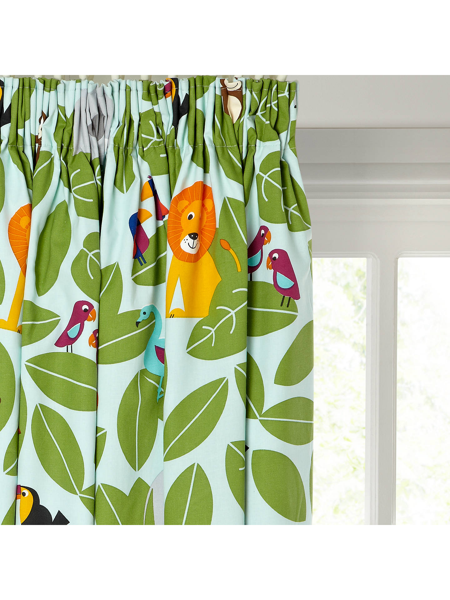 Buylittle home at John Lewis Animal Fun Pencil Pleat Pair Blackout Lined Curtains, W165 x Drop 182cm Online at johnlewis.com