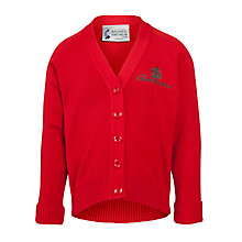 Buy The Cedars School Girls' V-Neck Cardigan, Red Online at johnlewis.com