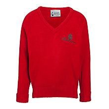 Buy The Cedars School V-Neck Jumper, Red Online at johnlewis.com