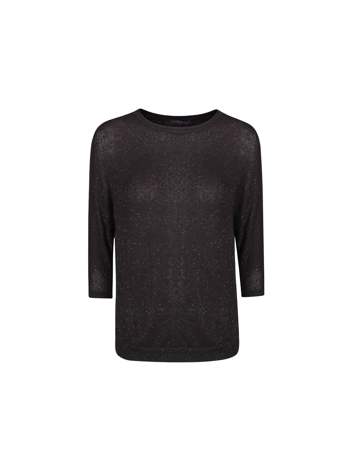 a9b5a4644 Buy Violeta by Mango Sequin Jumper, Black, S Online at johnlewis.com ...