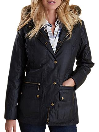 Barbour Kelsall Waxed Hooded Jacket, Black