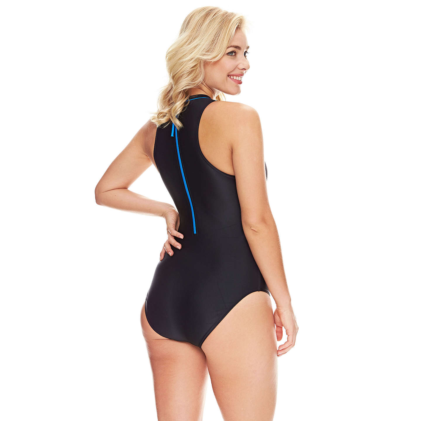 BuyZoggs Cabarita Zip High Neck Swimsuit, Black/Blue, 8 Online at johnlewis.com