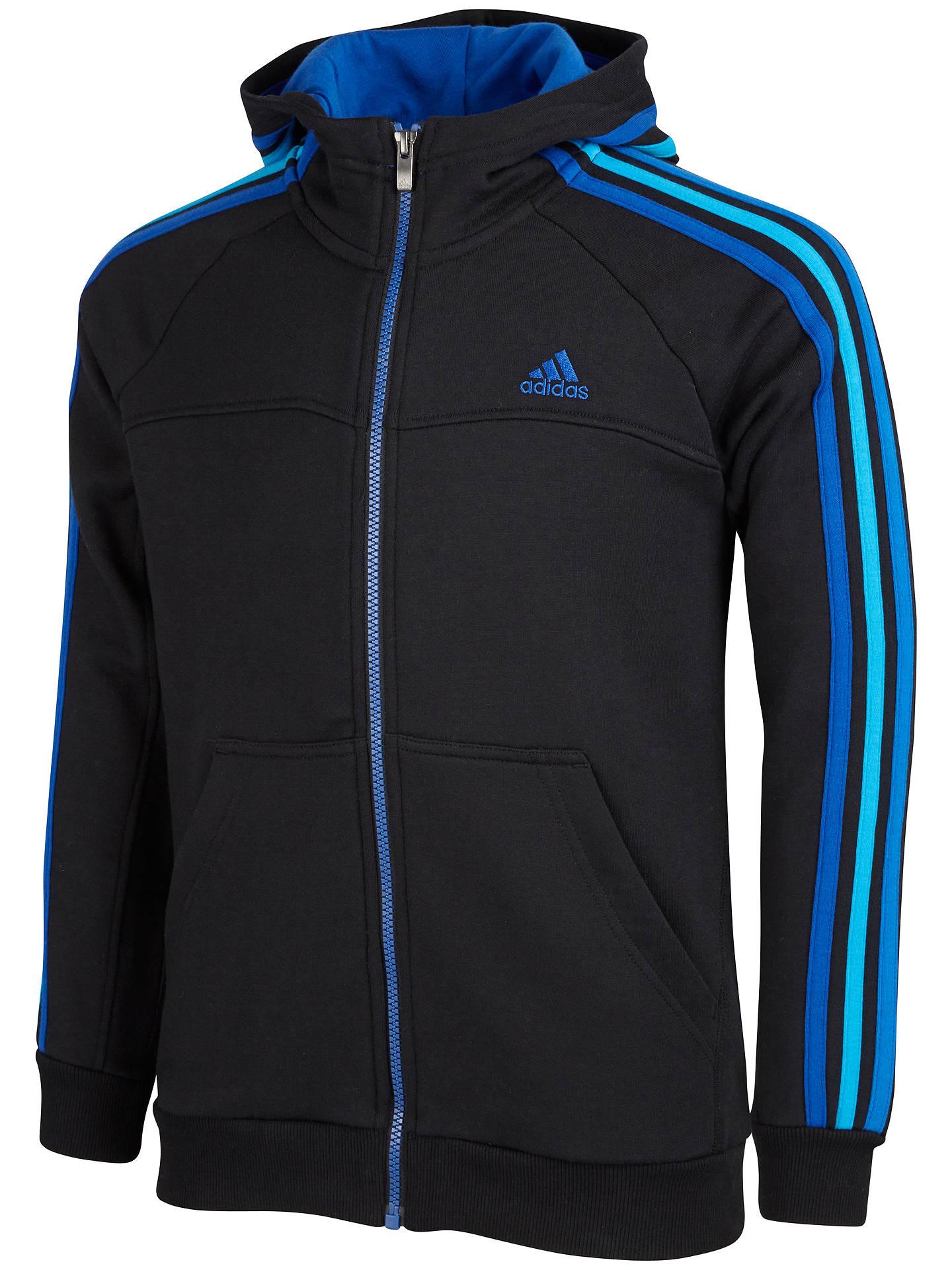 40747635 Adidas Boy's Essentials 3 Stripes Full-Zip Hoodie, Black/Blue at ...