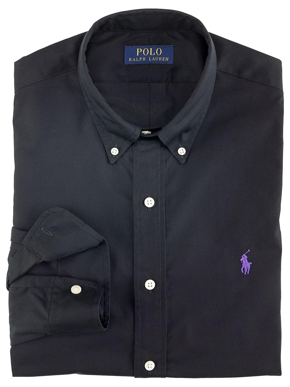 Polo Ralph Lauren Slim Fit Poplin Shirt, Black at John Lewis ...
