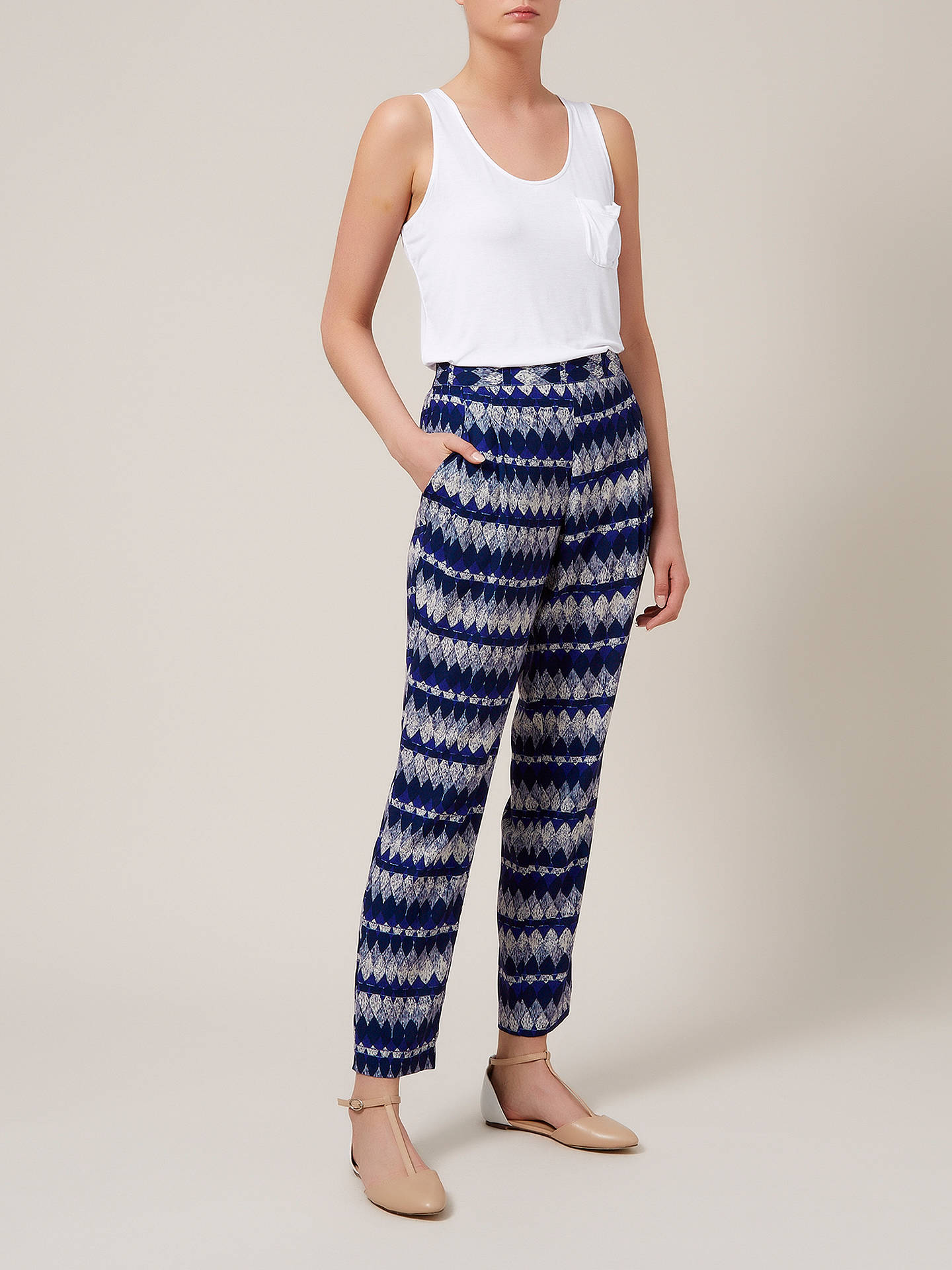 BuyKaliko Diamond Print Slouchy Trousers, Multi Navy, 10 Online at johnlewis.com