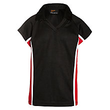 Buy Little Heath School Girls Polo Shirt, Black/Red/White Online at johnlewis.com