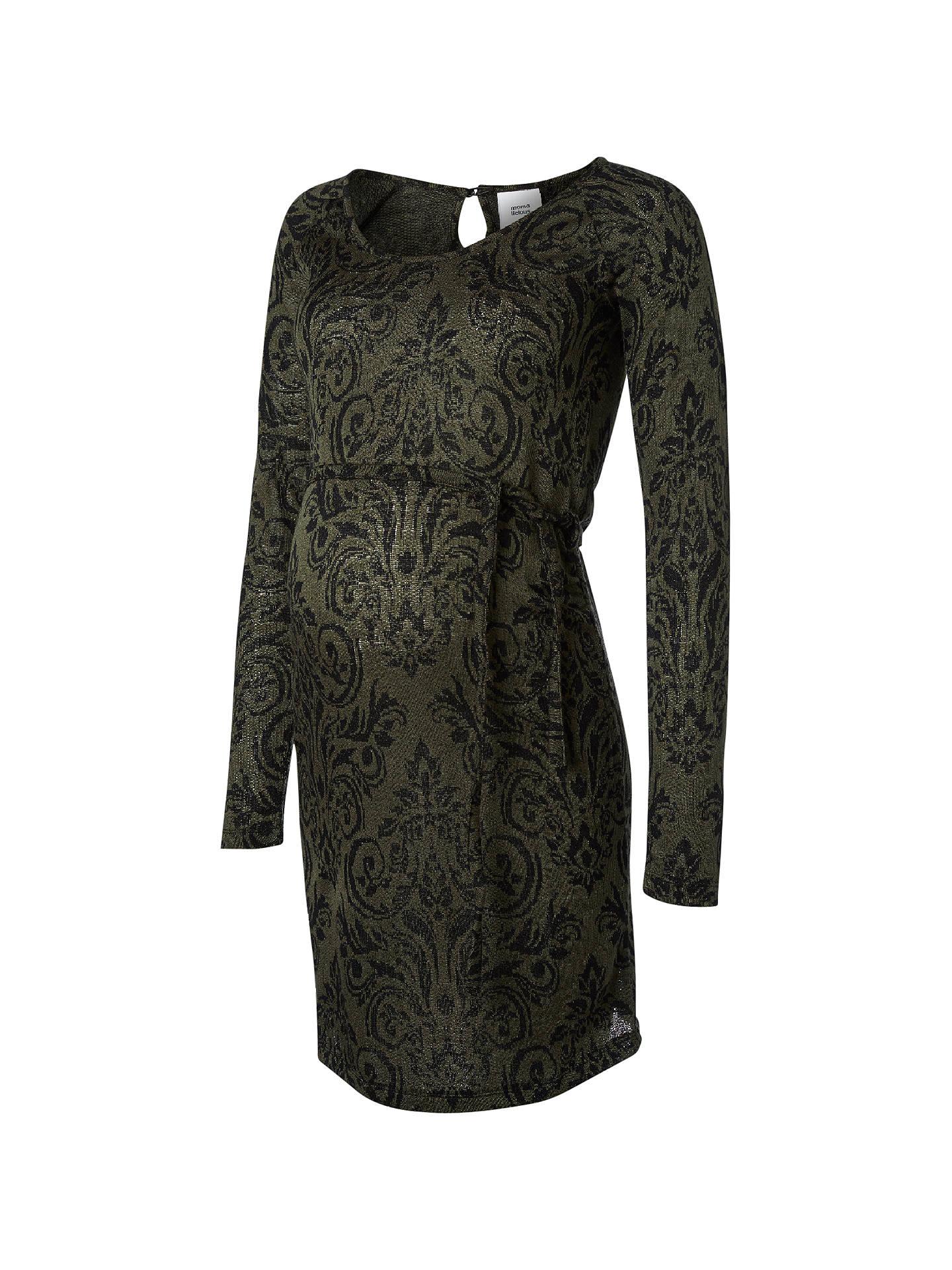 3f138837 Buy Mamalicious Serine Long Sleeve Jersey Dress, Green/Black, S Online at  johnlewis ...