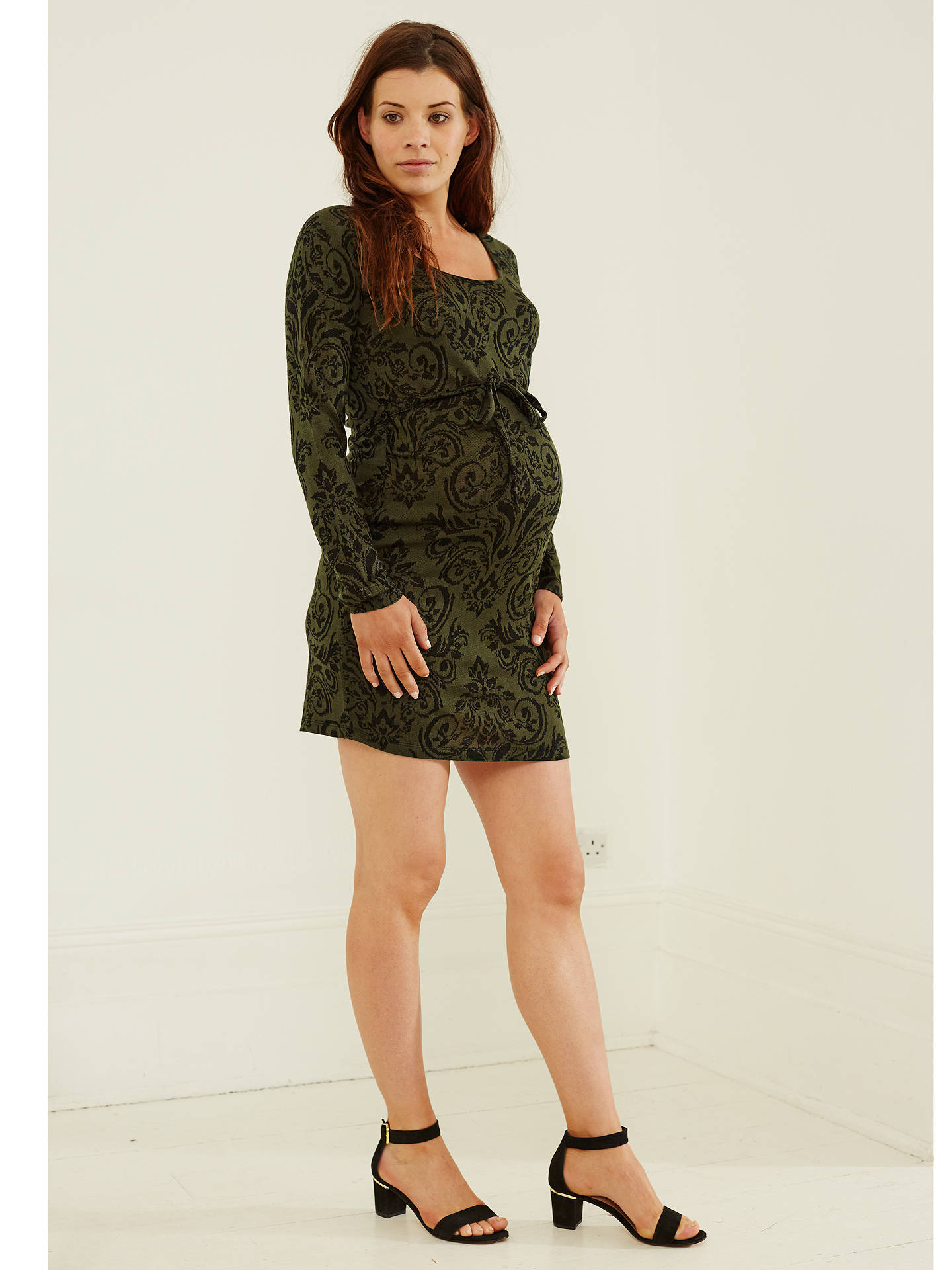 2e54fe0d ... Buy Mamalicious Serine Long Sleeve Jersey Dress, Green/Black, S Online  at johnlewis ...