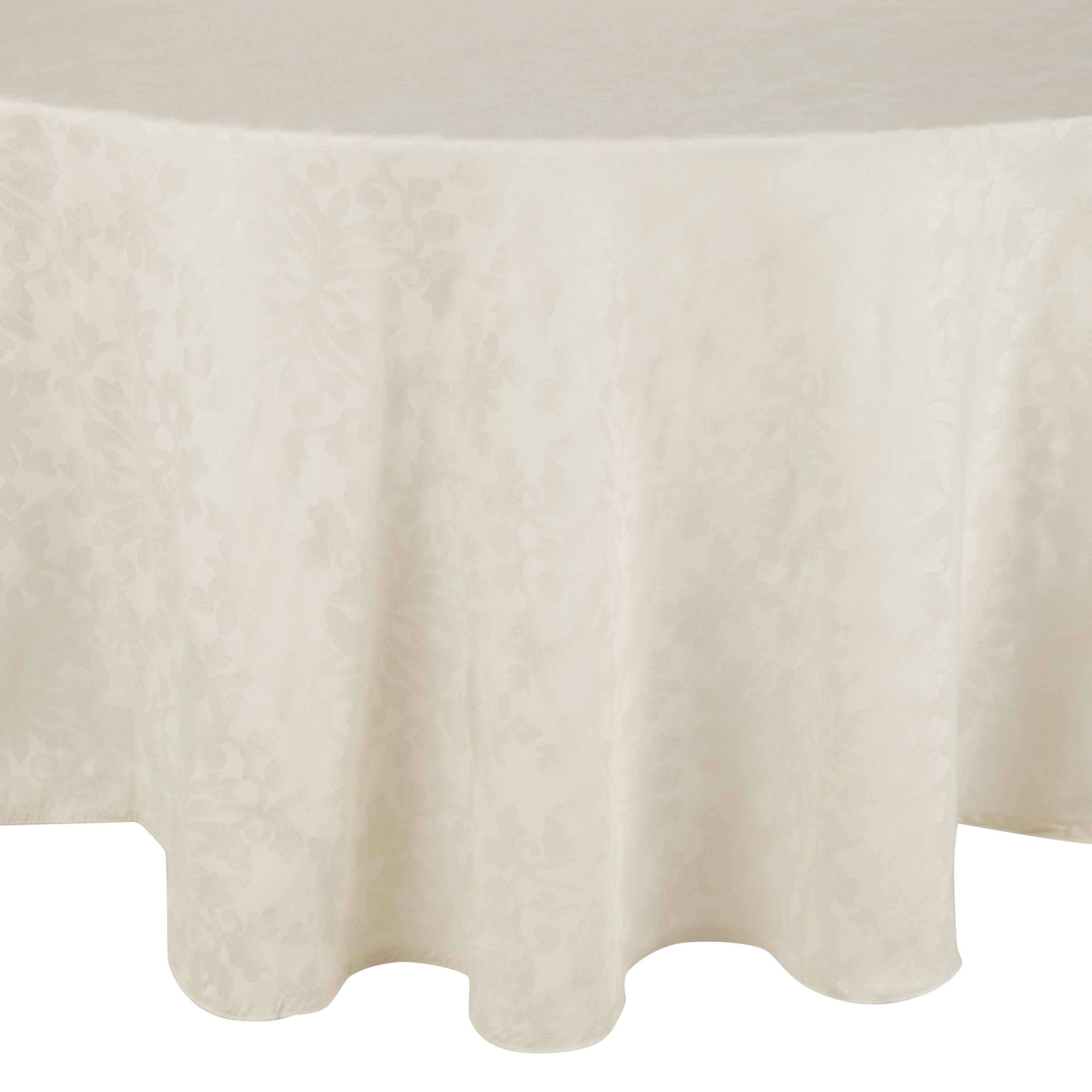 John Lewis Pemberley Damask Oval Tablecloth Cream L250 X W160cm At John Lewis Partners