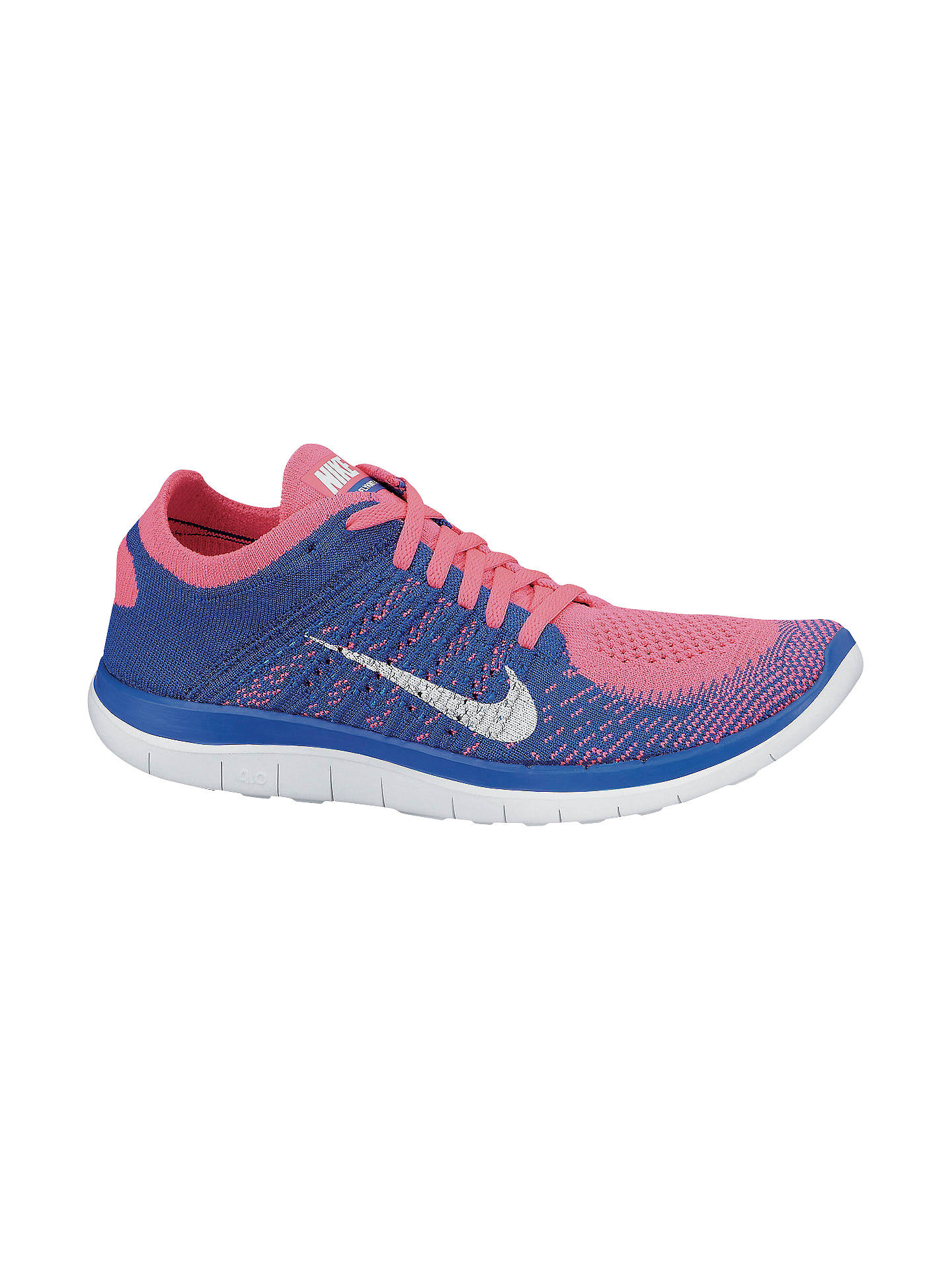 Irónico Reposición Estados Unidos  Nike Women's Free 4.0 Flyknit Running Shoes, Blue/Pink at John Lewis &  Partners