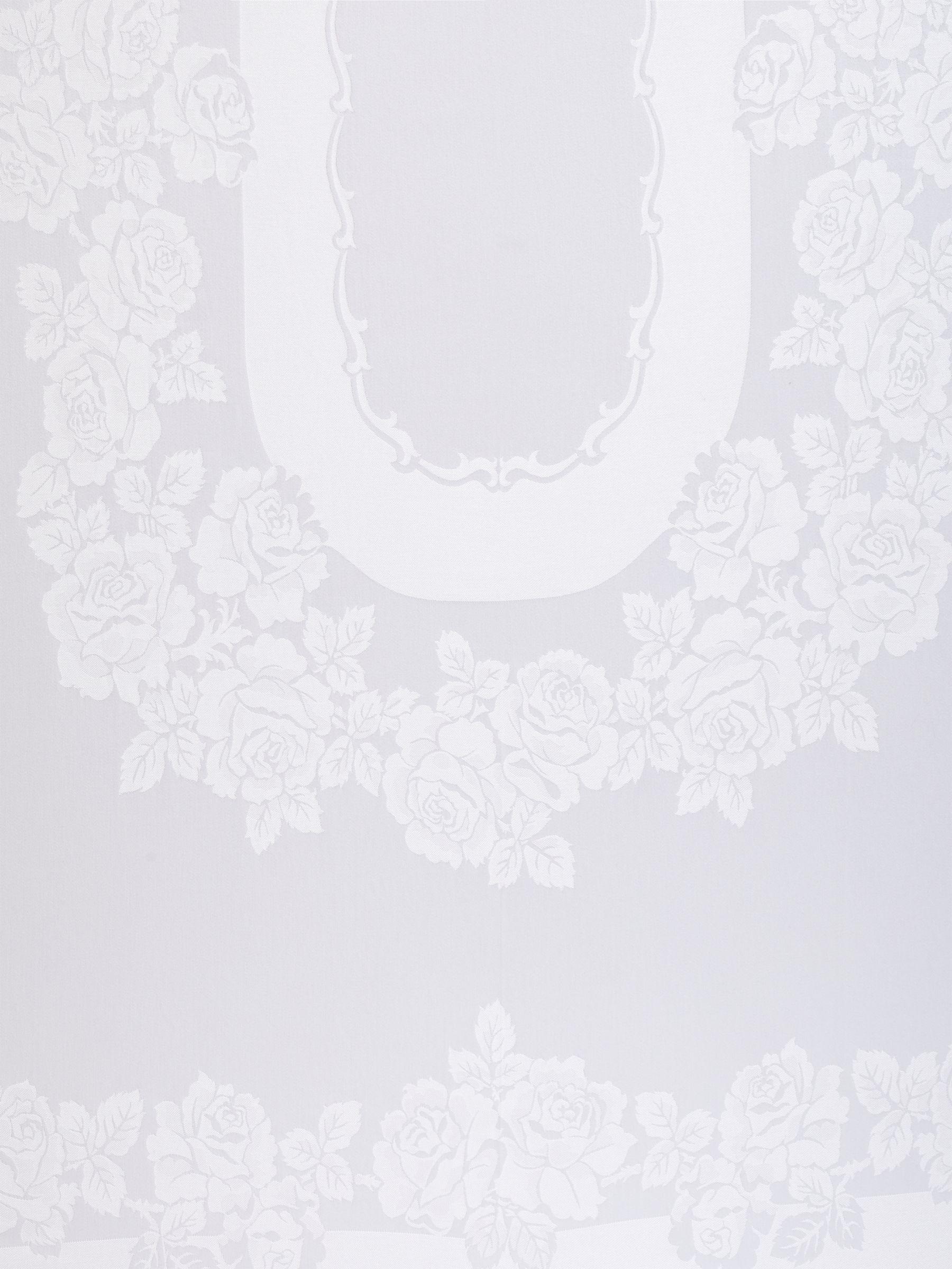 John Lewis Partners Rose Jacquard Pattern Cotton Tablecloth White At John Lewis Partners
