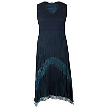 Buy Chesca Crush Pleat Sleeveless V-Neck with Lace & Satin Trim Dress, Ink Online at johnlewis.com