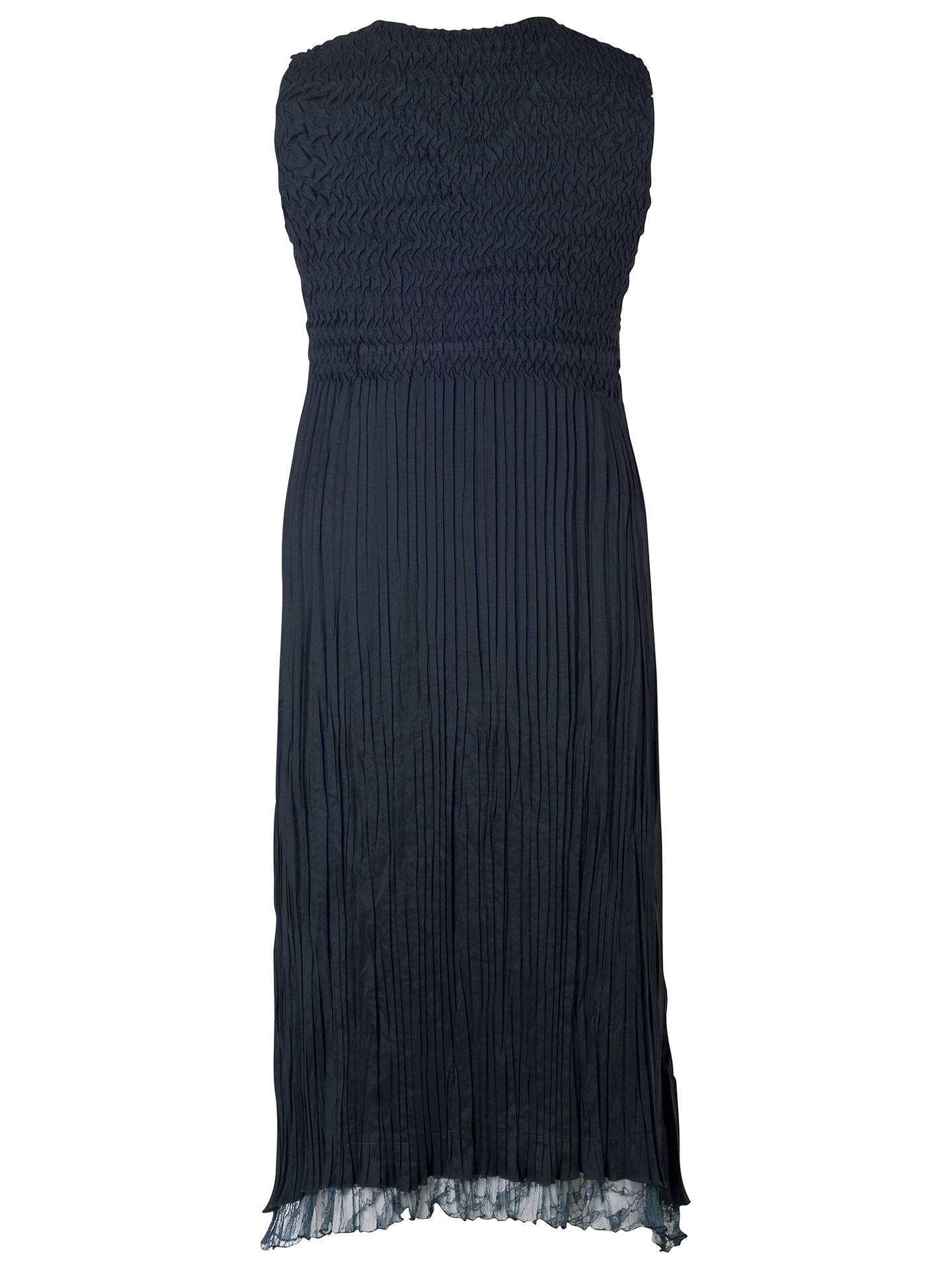 Buy Chesca Crush Pleat Sleeveless V-Neck with Lace & Satin Trim Dress, Ink, 10-12 Online at johnlewis.com