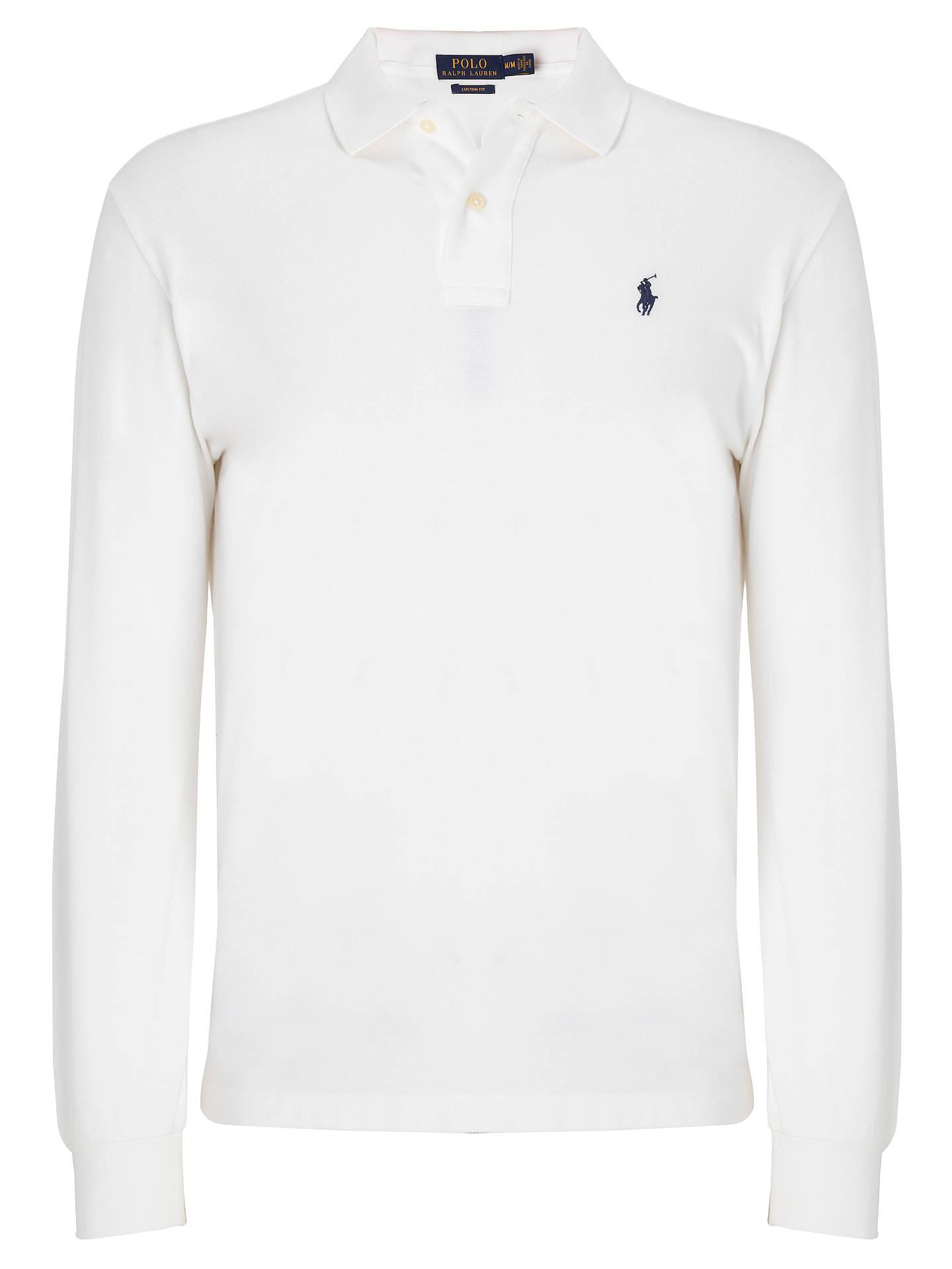 9495cd80 Polo Ralph Lauren Custom Fit Long Sleeve Polo Shirt, White at John ...